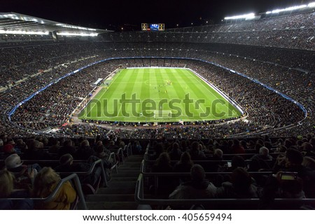 Barcelona April 05 - 2016: Camp Nou stadium on Champions league match between FC Barcelona and Atletico Madrid, 2 - 1, on April 05, 2016, in Barcelona, Spain. - stock photo