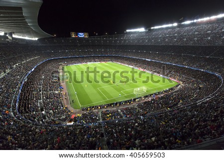Barcelona April 05 - 2016: Camp Nou stadium on Champions league match between FC Barcelona and Atletico Madrid, 2 - 1, on April 05, 2016, in Barcelona, Spain.