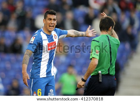 BARCELONA - APRIL, 9: Enzo Roco of RCD Espanyol during a Spanish League match against Atletico de Madrid at the Power8 stadium on April 9, 2016 in Barcelona, Spain - stock photo
