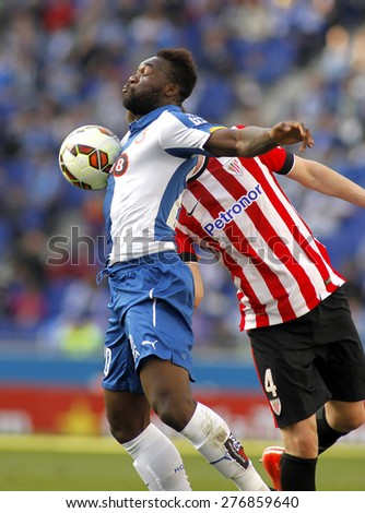 BARCELONA - APRIL, 12: Felipe Caicedo of RCD Espanyol during a Spanish League match against Athletic Club Bilbao at the Power8 Stadium on April 12 2015 in Barcelona Spain - stock photo