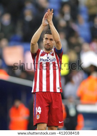 BARCELONA - APRIL, 9: Gabi Fernandez of Atletico Madrid during a Spanish League match against RCD Espanyol at the Power8 stadium on April 9, 2016 in Barcelona, Spain - stock photo