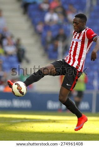 BARCELONA - APRIL, 12: Inaki Williams Dannis of Athletic Club Bilbao during a Spanish League match against RCD Espanyol at the Power8 Stadium on April 12 2015 in Barcelona Spain - stock photo