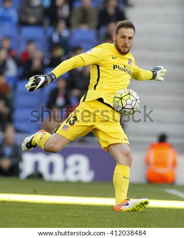 BARCELONA - APRIL, 9: Jan Oblak of Atletico Madrid during a Spanish League match against RCD Espanyol at the Power8 stadium on April 9, 2016 in Barcelona, Spain - stock photo