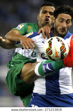 BARCELONA - APRIL, 6: Jonathas de Jesus of Elche CF during a Spanish League match against RCD Espanyol at the Estadi Cornella on April 6, 2015 in Barcelona, Spain - stock photo