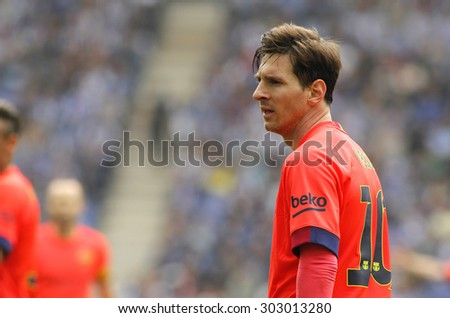 BARCELONA - APRIL, 25: Leo Messi of FC Barcelona during a Spanish League match against RCD Espanyol at the Power8 stadium on April 25 2015 in Barcelona Spain - stock photo