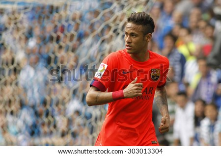 BARCELONA - APRIL, 25: Neymar da Silva of FC Barcelona during a Spanish League match against RCD Espanyol at the Power8 stadium on April 25 2015 in Barcelona Spain - stock photo