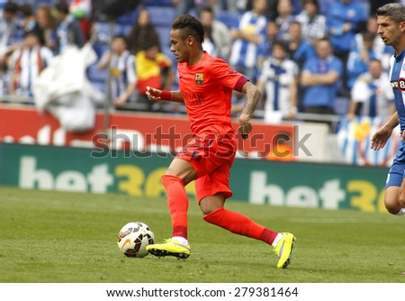 BARCELONA - APRIL, 25: Neymar da Silva of FC Barcelona in action during a Spanish League match against RCD Espanyol at the Power8 stadium on April 25 2015 in Barcelona Spain - stock photo