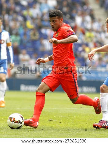 BARCELONA - APRIL, 25: Rafinha Alcantara of FC Barcelona during a Spanish League match against RCD Espanyol at the Power8 stadium on April 25, 2015 in Barcelona, Spain - stock photo