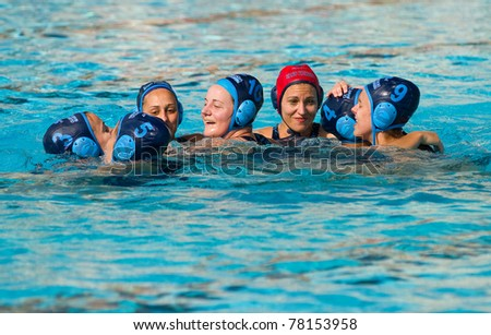 BARCELONA - APRIL 10:  Sant Andreu Waterpolo players celebrate their victory during the women Spanish league match between CN Mataro and Sant Andreu on April 10, 2011 in Mataro, Spain. Final score, 4-7.