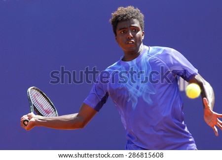 BARCELONA - APRIL, 23: Swedish tennis player Elias Ymer in action during a match of Barcelona tennis tournament Conde de Godo on April 23, 2015 in Barcelona