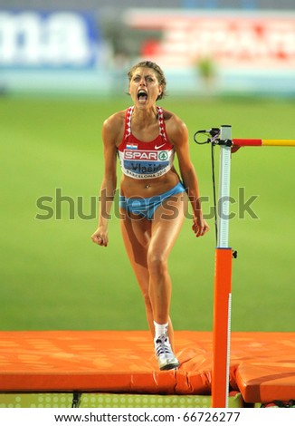 BARCELONA - AUG 1: Blanka Vlasic of Croatia celebrating gold on High Jump Final of the 20th European Athletics Championships at the Olympic Stadium on August 1, 2010 in Barcelona, Spain