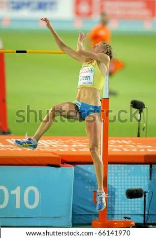 BARCELONA - AUG 1: Emma Green of Sweden during High Jump Final of the 20th European Athletics Championships at the Olympic Stadium on August 1, 2010 in Barcelona, Spain