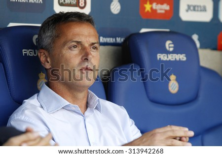 BARCELONA - AUG, 22: Fran Escriba manager of Getafe during a Spanish League match against RCD Espanyol at the Power8 stadium on August 22 2015 in Barcelona Spain - stock photo