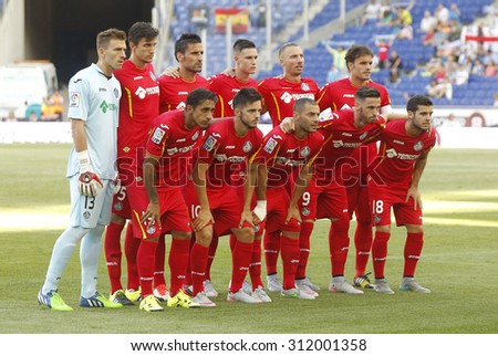 BARCELONA - AUG, 22: Getafe CF lineup before a Spanish League match against RCD Espanyol at the Estadi Cornella on August 22, 2015 in Barcelona, Spain - stock photo