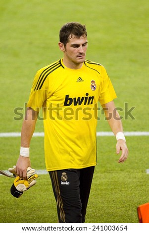 BARCELONA - AUGUST 17: Iker Casillas of RM in action at the Spanish Super Cup final match between FC Barcelona and Real Madrid, 3 - 2, on August 17, 2011 in Camp Nou stadium, Barcelona, Spain. - stock photo