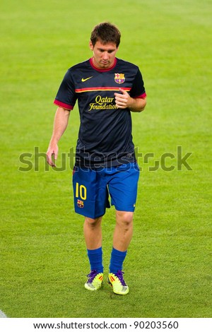 BARCELONA - AUGUST 17: Leo Messi before the Spanish Super Cup final match between FC Barcelona and Real Madrid, 3 - 2, on August 17, 2011 in Barcelona, Spain. - stock photo
