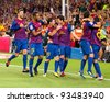 BARCELONA - AUGUST 17: Players celebrating the goal of Leo Messi (min. 88) during the Spanish Super Cup final match between FC Barcelona and Real Madrid, 3 - 2, on August 17, 2011 in Barcelona, Spain. - stock photo
