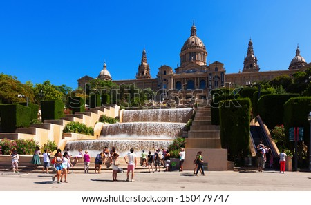 BARCELONA, CATALONIA - AUGUST 8: View of National Palace of Montjuic in August 8, 2013 in Barcelona, Catalonia.   Now is National Art Museum