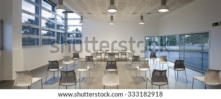 BARCELONA, CATALONIA/SPAIN - CIRCA 2011: Can Rectoret conference room and multipurpose room com splendid forest views - stock photo