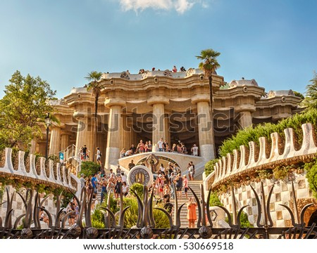 Barcelona, Catalonia, Spain - September 8, 2016: Principal staircase in Park Guell.