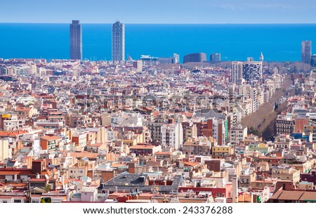 Barcelona city from high point. Spain - stock photo