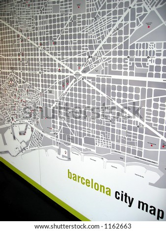 Barcelona City Map on the Wall - stock photo