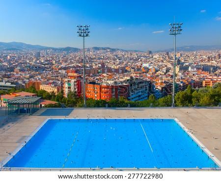 Barcelona city Olympic swimming pool. Montjuic mountain. Spain. - stock photo