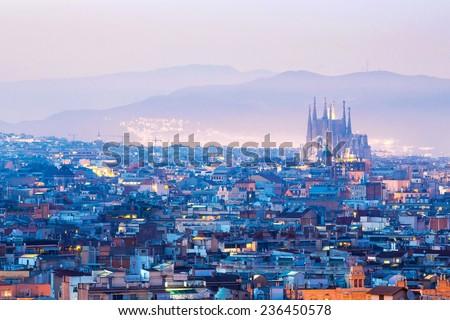 Barcelona Cityscape at dusk Spain - stock photo