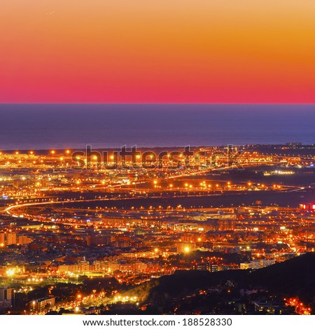 Barcelona Cityscape during sunset - view from Tibidabo Mountain, Catalonia, Spain - stock photo