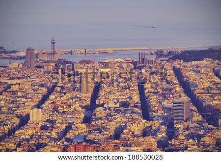 Barcelona Cityscape during sunset - view from Tibidabo Mountain, Catalonia, Spain