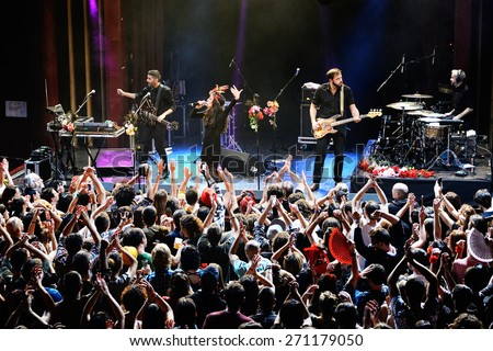 BARCELONA - DEC 5: Crowd at the Fuel Fandango (electronic, funk, fusion and flamenco band) concert at Apolo (venue) on December 5, 2014 in Barcelona, Spain. - stock photo