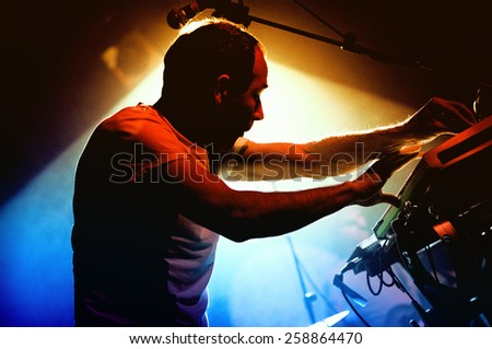 BARCELONA - DEC 12: Daniel Snaith, frontman of Caribou, performs at Discotheque Razzmatazz on December 12, 2010 in Barcelona, Spain. Razzmatazz celebrates his 10th anniversary. - stock photo