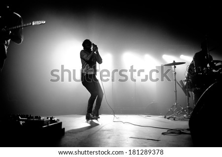 BARCELONA - DEC 10: Friendly Fires band performs at Razzmatazz on December 10, 2011 in Barcelona, Spain. - stock photo