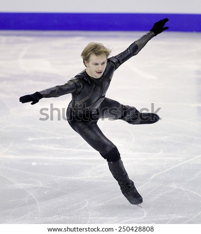 BARCELONA - DEC, 13: Sergei Voronov of Russia during Men Free Skating event of ISU Grand Prix of Figure Skating Final 2014 on December 13, 2014 in Barcelona, Spain - stock photo
