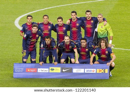 BARCELONA - DECEMBER 16: Barcelona players before the Spanish League match between FC Barcelona and Atletico de  Madrid, final score 4 - 1, on December 16, 2012, in Camp Nou, Barcelona, Spain. - stock photo