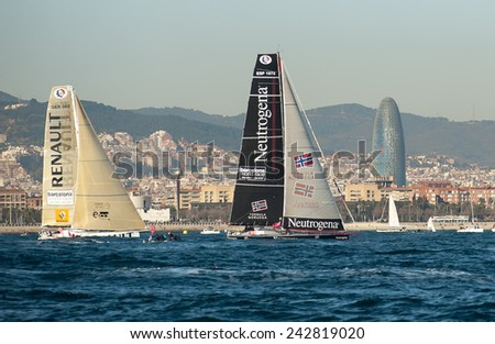 BARCELONA - DECEMBER 31: Barcelona World Race start on December 31, 2014 in Barcelona, Spain.