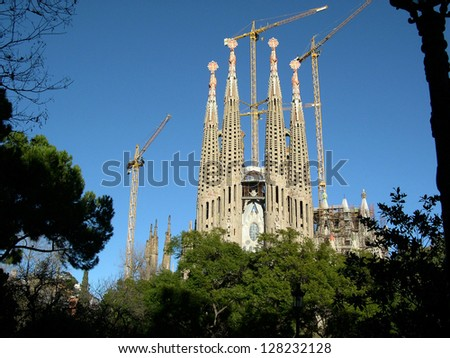 BARCELONA - DECEMBER 31: La Sagrada Familia - the amazing cathedral designed by Gaudi, in construction since 1882, after Pope Benedict XVI consecration in 2010. December 31, 2010 in Barcelona, Spain. - stock photo