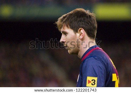 BARCELONA - DECEMBER 16: Lionel Messi in action at the Spanish League match between FC Barcelona and Atletico de  Madrid, final score 4 - 1, on December 16, 2012, in Camp Nou, Barcelona, Spain.