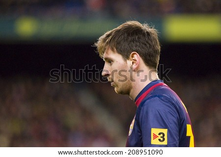 BARCELONA - DECEMBER 16: Lionel Messi in action at the Spanish League match between FC Barcelona and Atletico de Madrid, final score 4 - 1, on December 16, 2012, in Camp Nou, Barcelona, Spain. - stock photo
