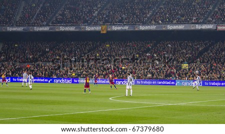 BARCELONA - DECEMBER 13: Nou Camp stadium, FC Barcelona - Real Sociedad, 5 - 0. December 13, 2010 in Barcelona (Spain). - stock photo