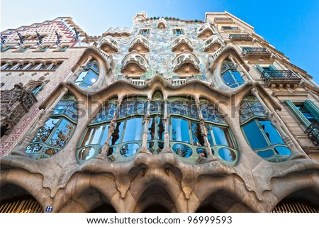 BARCELONA - DECEMBER 16: The facade of the house Casa Battlo (also could the house of bones) designed by Antoni Gaudi���­ with his famous expressionistic style on December 16, 2011 Barcelona, Spain
