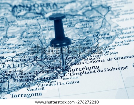 Barcelona destination in the map - stock photo