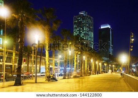 Barcelona embankment in night. Catalonia, Spain - stock photo