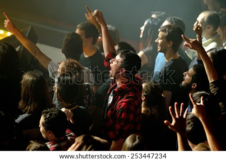 BARCELONA - FEB 13: Audience at Apolo on February 13, 2015 in Barcelona, Spain. - stock photo