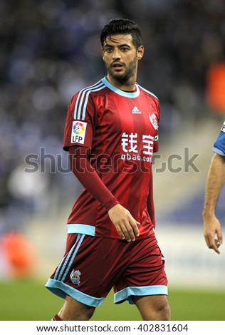 BARCELONA - FEB, 8: Carlos Vela of Real Sociedad during a Spanish League match against RCD Espanyol at the Power8 stadium on February 8, 2016 in Barcelona, Spain - stock photo