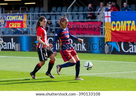 BARCELONA - FEB 28: F.C Barcelona women's football team play against Athletic Club de Bilbao on February 28, 2016 in Barcelona, Spain. Superliga (Femenine Spanish Soccer League) match.