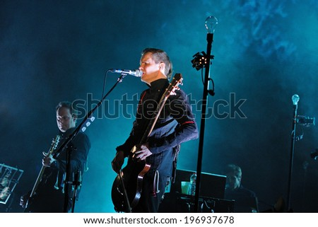 BARCELONA - FEB 16: Jon Por Birgisson, also known as Jonsi, lead singer of Sigur Ros band performs at Sant Jordi Club on February 16, 2013 in Barcelona, Spain.