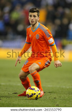 BARCELONA - FEB, 8: Jose Gaya of Valencia CF during spanish League match against RCD Espanyol at the Estadi Cornella on February 8, 2015 in Barcelona, Spain - stock photo