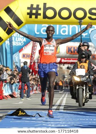 BARCELONA - FEB,2: Kenyan Wilson Kipsang, Current world record holder, finishing Granollers Half Marathon at Granollers on February 2, 2014 in Barcelona, Spain - stock photo