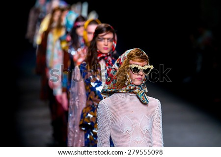 BARCELONA - FEB 4: Models walk the runway for the Manuel Bolano collection at the 080 Barcelona Fashion Week 2015 Fall Winter on February 4, 2015 in Barcelona, Spain. - stock photo